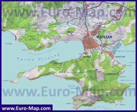 Карта Магадана с окрестностями