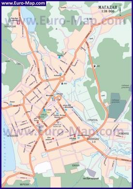 Подробная карта города Магадан