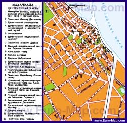 Карта достопримечательностей Махачкалы