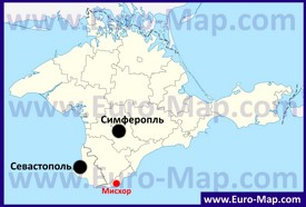 Мисхор на карте Крыма