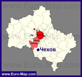 Чехов на карте Московской области