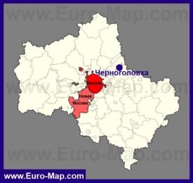Черноголовка на карте Московской области