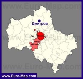 Дмитров на карте Московской области