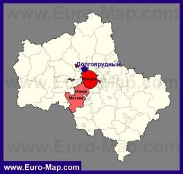 Долгопрудный на карте Московской области