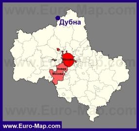 Дубна на карте Московской области