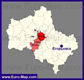 Егорьевск на карте Московской области