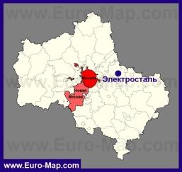 Электросталь на карте Московской области