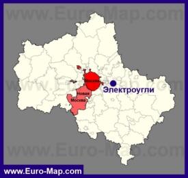Электроугли на карте Московской области