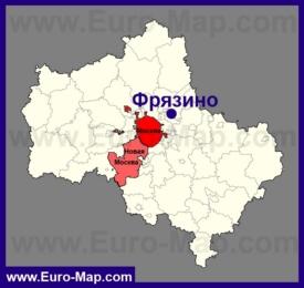 Фрязино на карте Московской области