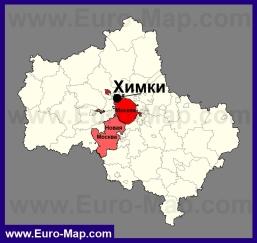 Химки на карте Московской области