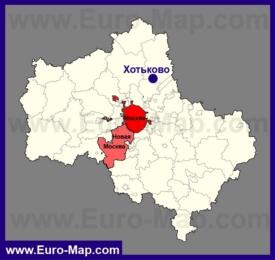 Хотьково на карте Московской области
