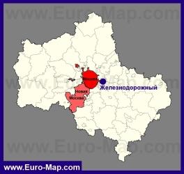 Железнодорожный на карте Московской области