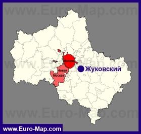 Жуковский на карте Московской области