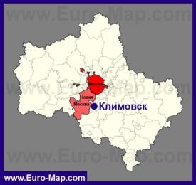 Климовск на карте Московской области