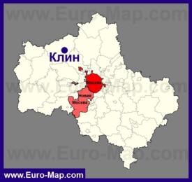Клин на карте Московской области