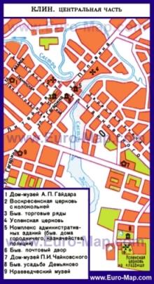 Туристическая карта Клина с достопримечательностями