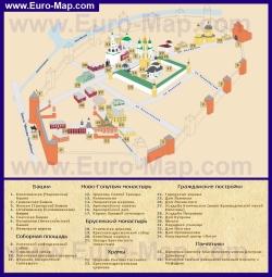 Карта Коломенского Кремля с достопримечательностями