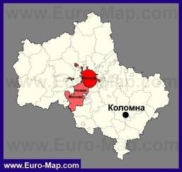 Коломна на карте Московской области