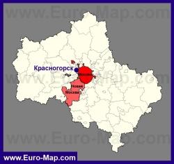 Красногорск на карте Московской области