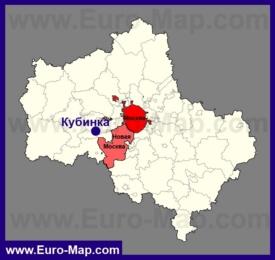 Кубинка на карте Московской области