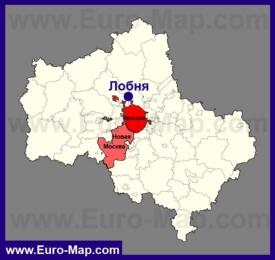Лобня на карте Московской области