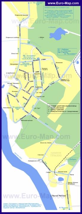 Карта маршрутов транспорта Лыткарино