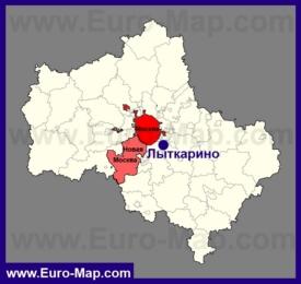 Лыткарино на карте Московской области