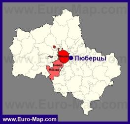 Люберцы на карте Московской области