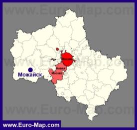 Можайск на карте Московской области