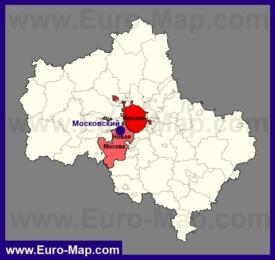 Город Московский на карте Московской области