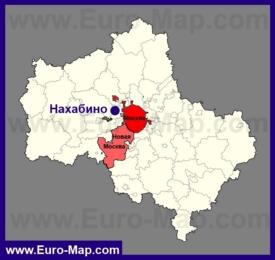 Нахабино на карте Московской области