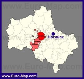 Ногинск на карте Московской области