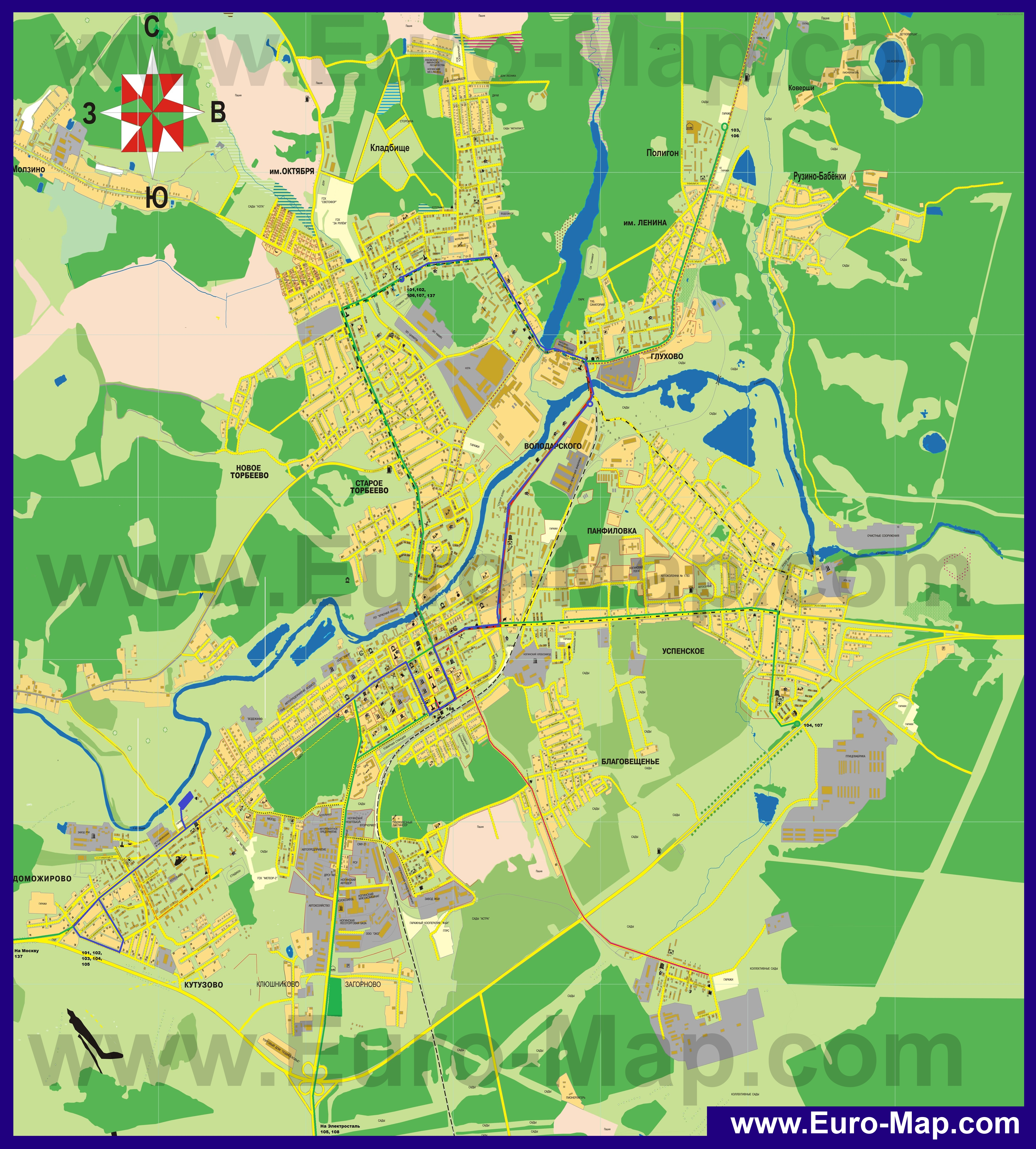 Карта Адлера подробная: районы, названия улиц