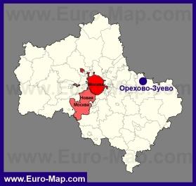 Орехово-Зуево на карте Московской области