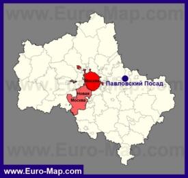 Павловский Посад на карте Московской области