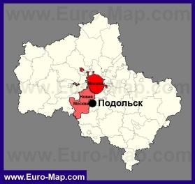 Подольск на карте Московской области
