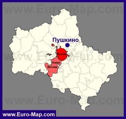 Пушкино на карте Московской области