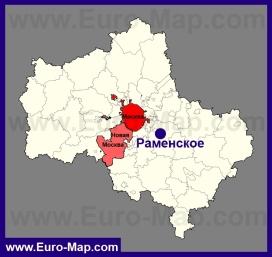 Раменское на карте Московской области