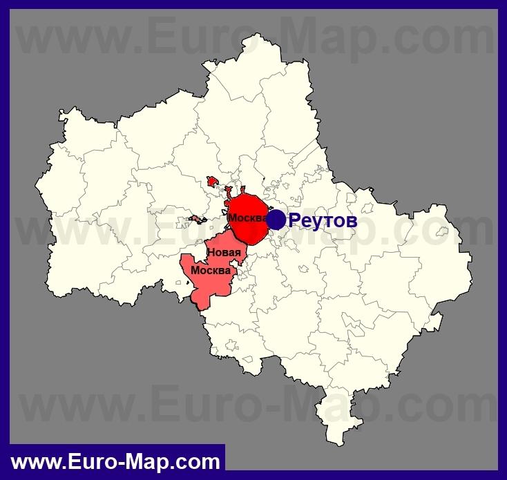 Реутов на карте Московской