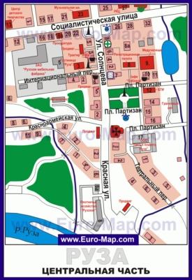 Подробная карта центра города Руза