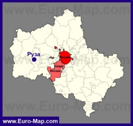 Руза на карте Московской области