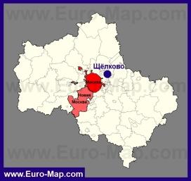 Щёлково на карте Московской области