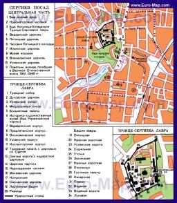 Карта Сергиева Посада с достопримечательностями