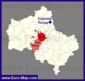 Сергиев Посад на карте Московской области