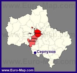 Серпухов на карте Московской области