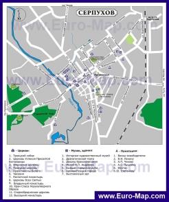 Туристическая карта Серпухова с достопримечательностями