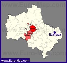 Шатура на карте Московской области