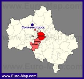 Солнечногорск на карте Московской области