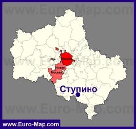 Ступино на карте Московской области