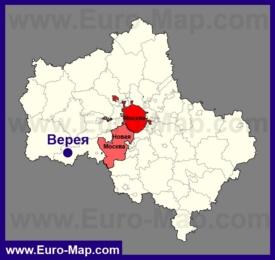 Верея на карте Московской области